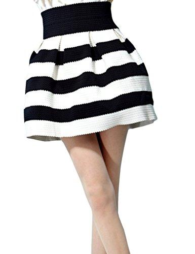 Elf Sack Womens Autumn Skirt Short Elastic Waist Retro Black-And-White Stripe Large Size