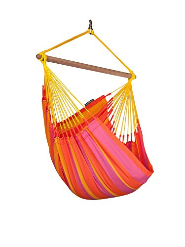 LA SIESTA Sonrisa High Comfort and Rip Proof Hammock Chair with Spreader Bars, Mandarin