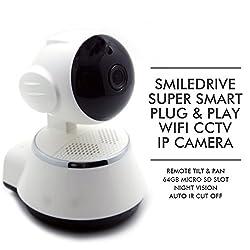 SMILEDRIVE SUPER SMART WIFI IP PLUG & PLAY HD CCTV CAMERA WITH REMOTE PAN & TILT FUNCTION, 64GB MEMORY SLOT, NIGHT VISION, IR CUT