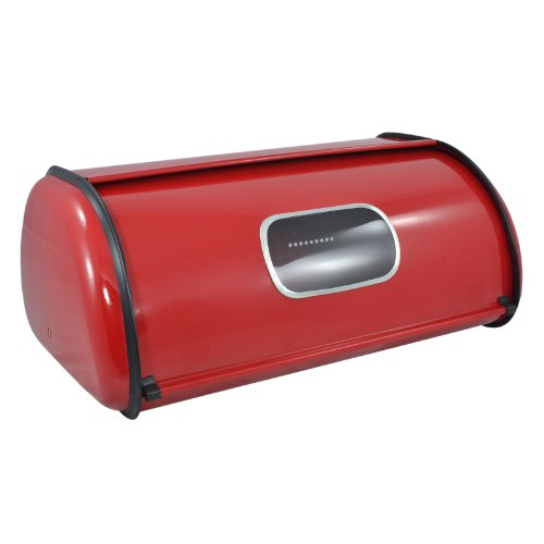 Modern Red Metal Clear Front Window Rolltop 2 Loaf Bread Box / Storage Bin - MyGift® (Open Front Bread Box compare prices)