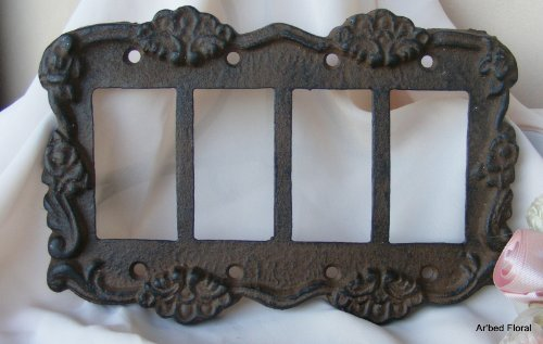Rustic Brown Cast Iron Quad GFI Switch Cover Plate Rocker (Floral Wall Switch Covers compare prices)