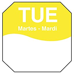 DayMark IT1100602 MoveMark Day of the Week Removable Octagonal Label, Tuesday, 1\