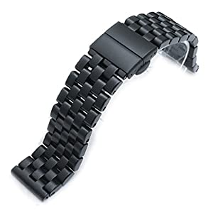 21.5mm Super Engineer I 316L SS Watch Bracelet for Seiko Tuna, Deployant Clasp PVD Black