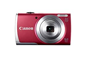 """Canon PowerShot A2500 Appareil photo numérique compact 16 Mpix écran 2,7"""" Zoom optique 5x Rouge"""