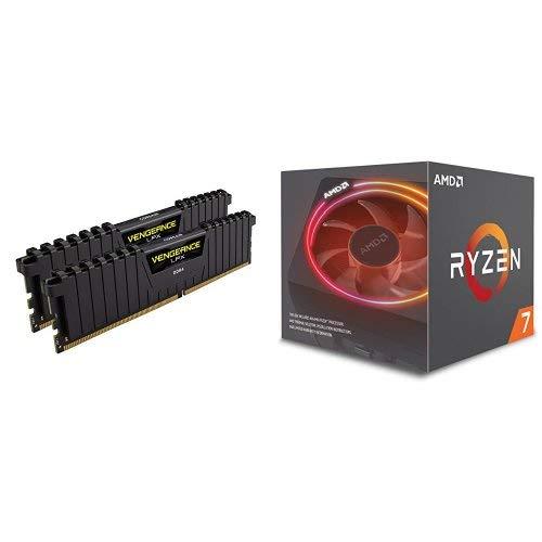 Corsair LPX 32GB (2x16GB) 3200MHz C16 DDR4 DRAM Memory Kit, Black and AMD Ryzen 7 2700X Processor with Wraith Prism LED Cooler (Color: Vengeance LPX Black, Tamaño: 32GB (2 x 16GB))