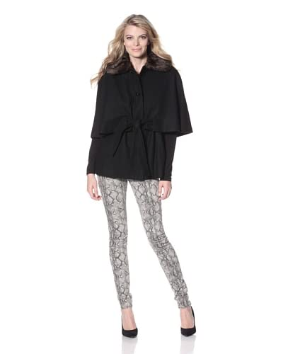 Betsey Johnson Women's Cape with Faux Collar  - Black