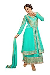 YOUR CHOICE Georgette Turquoise Embroideried Women's Lehenga Choli HTS1006
