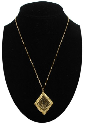 Antiqued Gold Plated Photo Locket Pendant Necklace Diamond Shape Etched