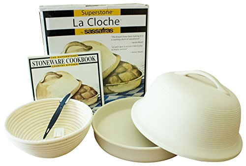 4-piece Superstone La Cloche Bread Baker, Scoring Tool, Round Banneton Proofing Basket, Cookbook Bundle (Stoneware Cook Book compare prices)