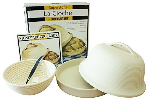 4-piece Superstone La Cloche Bread Baker, Scoring Tool, Round Banneton Proofing Basket, Cookbook Bundle (Stoneware Cook Book compare prices)