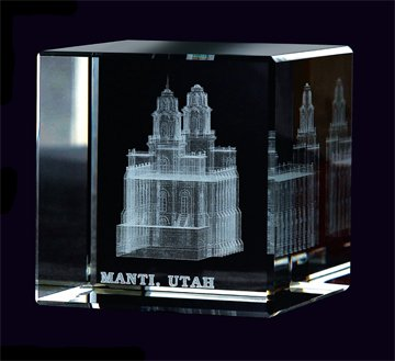 Manti Temple Crystal Cube