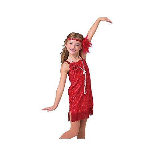 Child Dlx Red Flapper Sequin Dot Velvet Dress Costume (Deluxe Flapper Girl Costume)