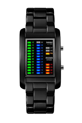 Rtimer Binary Matrix LED Digital Waterproof Watch for Men. A quirky design which has the look of something out of a sci-fi movie.