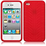 Red Tyre Tread Rubber Silicone Skin Case Cover for Apple iPhone 4 PART OF THE QUBITS ACCESSORIES RANGEby Qubits