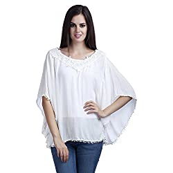 MansiCollections Casual Butterfly Sleeve Solid Women's White Top (XX-Large)