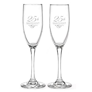 Hortense B. Hewitt Wedding Accessories 25th Anniversary Champagne Toasting Flutes, Set of 2 by Sourced Wit