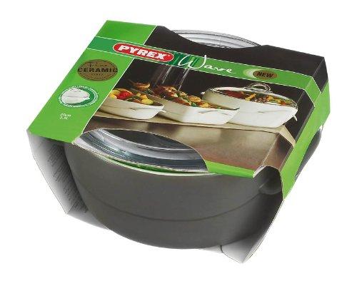 Pyrex Wave Stoneware - Pirofila rotonda da forno, coperchio in vetro borosilicato incluso, da 2,5 l, colore: Grigio