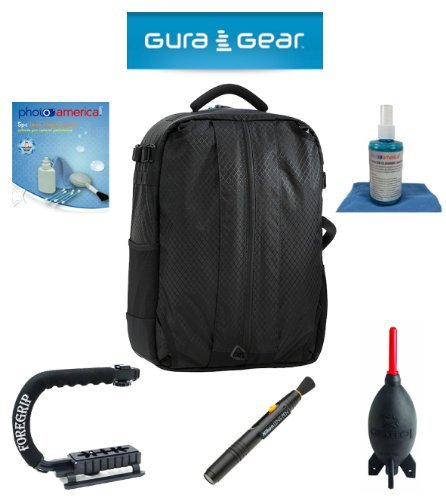 Gura Gear Bataflae 32L Backpack (Black) For Canon Eos 1D X, 1D Mark Iii, 1D Mark Ii N, 1D Mark Ii, 1D + Foregrip + Nikon Lens Pen Cleaning System + Giotto'S Air Blower + Cleaning Kit + Olympus Waterproof Binoculars