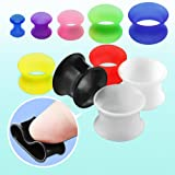 Pair of Ultra Thin Flexible Silicone Earskin Flesh Tunnel Plugs - 8G to 1 inch