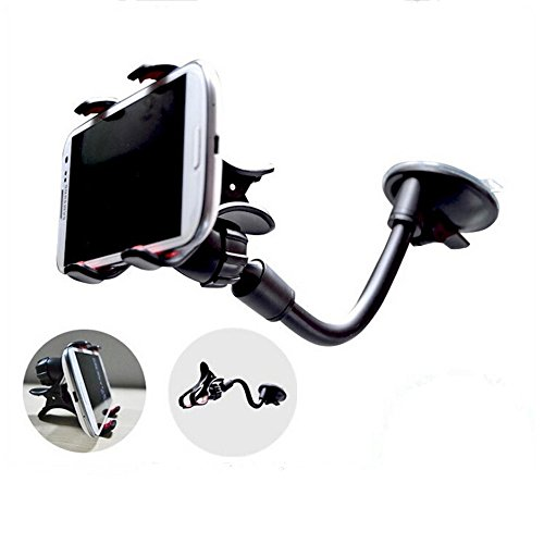 360 Degree Rotation Cell Phone Windshield Mount with Strong Suction and Extra Dashboard Base for iPhone Samsung HTC & More