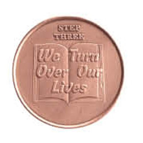 Step 3 Copper Commemorative AA (Alcoholics Anonymous) - Sober / Sobriety / Recovery / Medallion / Coin / Chip