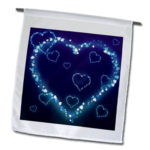 3Drose Fl_102492_1 Blue Electric Hearts Love Design Garden Flag, 12 By 18-Inch