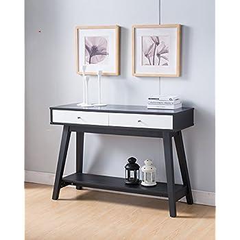 161620 Smart Home Faux Croc Black & Glossy White Sofa Console Table