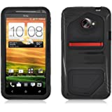 Aimo Wireless HTCEVO4GLTEPCMXSK001 Guerilla Armor Hybrid Case for HTC EVO 4G LTE - Retail Packaging - Black