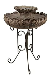 "30"" Solar Powered Floral Earth Tone Outdoor Garden Water Fountain"