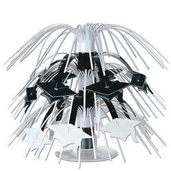 Mini Grad Cap Cascade Centerpiece (black & white) Party Accessory  (1 count) (1/Pkg)