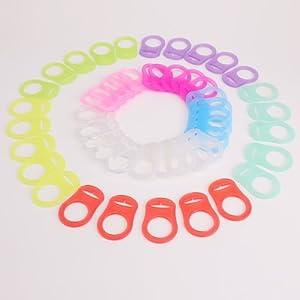CLE DE TOUS - 50pcs Clip de silicona Baby Babé MAM RINGS DUMMY CLIPS 10 colores marca Surepromise - BebeHogar.com