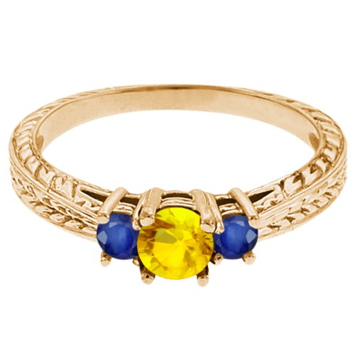0.62 Ct Round Yellow Sapphire Blue Sapphire 14K Yellow Gold 3-Stone Ring