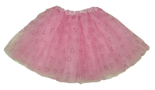 Girl Toddler Glitter Light Pink With Light Pink Hearts Dance Or Ballet Tutu front-912118