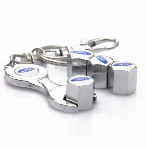 D&R® Wrench Keychain Chrome Tire Valve Stem Caps for Ford