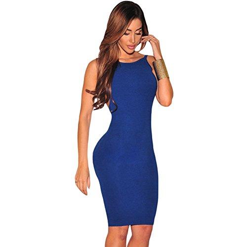 meinice bassa schiena aperta senza maniche Midi Dress Blue Small