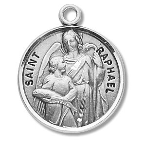 Sterling Silver Patron Saint Medal Round St. Raphael with 20