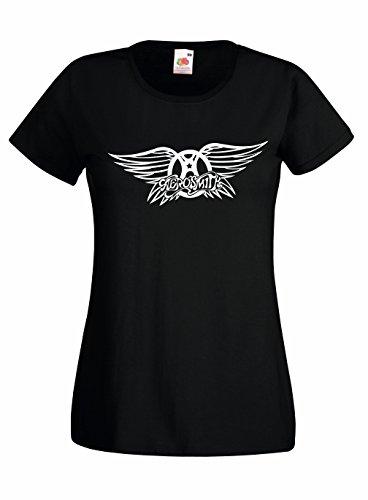 T-shirt Donna Aerosmith - Maglietta rock band 100% cotone LaMAGLIERIA,M, Nero