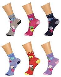 Gumber Pack of 6 Pairs of Multicoloured Printed Ankle Length Socks(GE_JR_7-13_6PC_2)