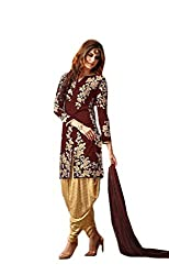 Dealfiza Fancy Maroon Embroidered Patiyala Suit