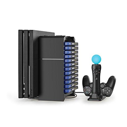 PS4 / PlayStation 4 Pro / Slim 専用 多機能縦置きプレイステーション4スタンド PS4ディスク収納(12個) 省スペース 冷却ファン付き
