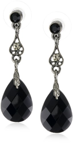 1928 Jewelry Spring Jet Black Delicate Teardrop Earrings