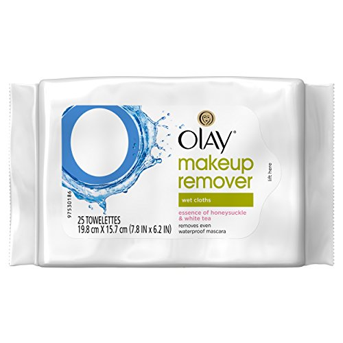 Olay Makeup Remover Wet Cloths, Honeysuckle and White Tea, 25 Count (Makeup Remover Olay compare prices)