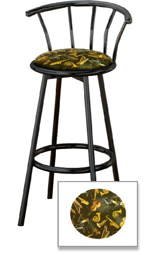 2 Jazz Instruments Music Themed Specialty / Custom Black Barstools With Backr... front-19938
