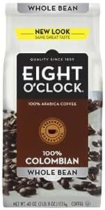 Eight O'Clock Coffee Colombian 100% Arabica Whole Bean Coffee 40 Ounce Bag