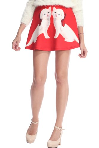 Romwe Women'S Symmetric White Christmas Cats Print Polyester Skirt-Red-M front-547954