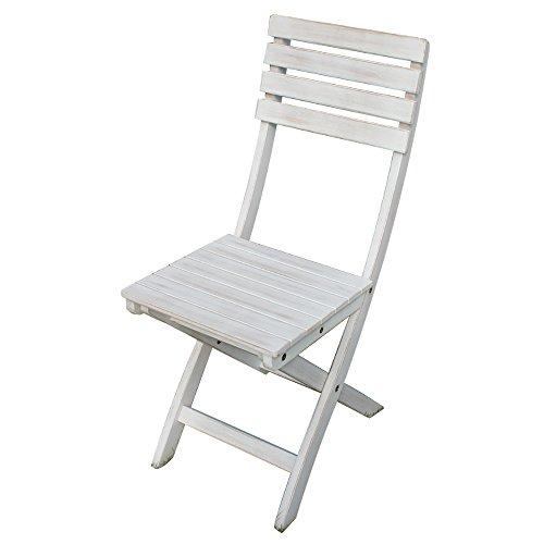 Sedia in legno di acacia bianco White Old arredamento esterno AC805042