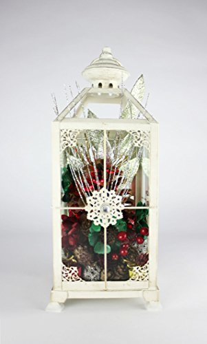 14 Inch White Glass Illuminated Lantern With Pinecones, Red And Green Accents - Snowflake