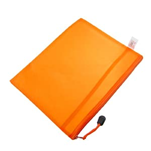 200x250mm A5 File 2 Compartments Zip Up Bag Orange