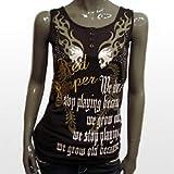 [レッドペッパージーンズ]REDPEPPER 正規品#41LT-11 スカル 髑髏 ウィング 羽 ロゴ 柄 プリント タンクトップ ノースリーブ ノンスリーブ ブラック 黒 ベージュ カーキ 茶 ブラウン Tシャツ ブランドトップス ロックテイスト レディースファッション レディース