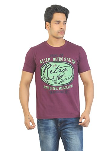 Aliep Aliep Stylish Wine Printed Half Sleeves T-Shirt For Men | ALP1614 (Multicolor)